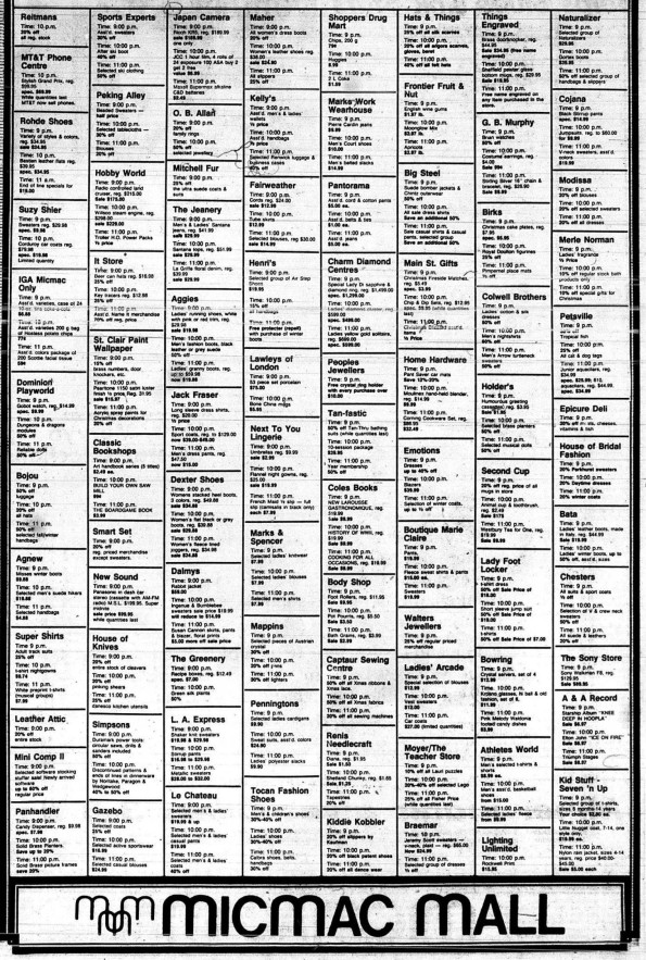 A listing of Midnight Madness deals at Mic Mac 1985